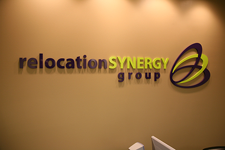 Office lobby sign lettering, acrylic letters